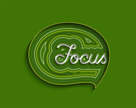 Focus Calligraphic Line art Text Poster vector illustration Design.