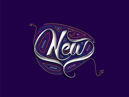 New Calligraphic flat line Style Text Vector illustration Design Illustration