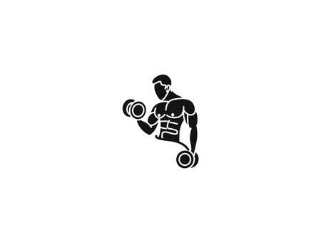 Athletic men pumping up back muscles workout gym bodybuilding - Silhouette Design Vector Illustration.