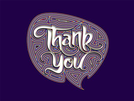 Thank You Calligraphic flat line Style Text Vector illustration Design.