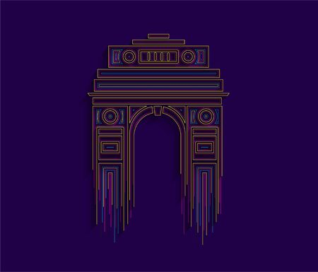 1920s triumphal arch and war memorial. Line art vector illustration. Ilustração