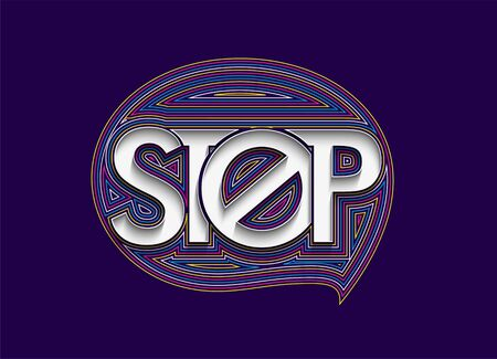 Stop Calligraphic line art Text shopping poster vector illustration Design.  イラスト・ベクター素材