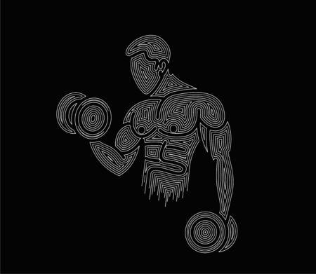 Athletic men pumping up back muscles workout gym bodybuilding - Line Art Design Vector Illustration. Vetores