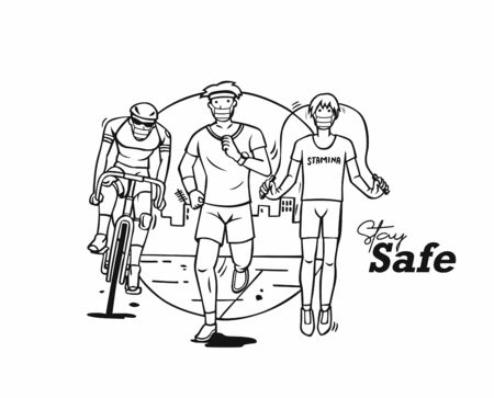 Sport and activity line drawing- stay safe, Vector Illustration