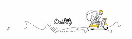 Delivery boy ride scooter delivery service , Safe Order, Fast Shipping, Flat Line Art Vector Background.