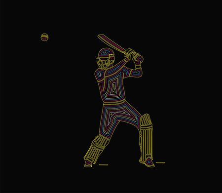 Abstract background with batsman playing cricket championship background. Use for cover, poster, template, brochure, decorated, flyer, banner. Ilustração