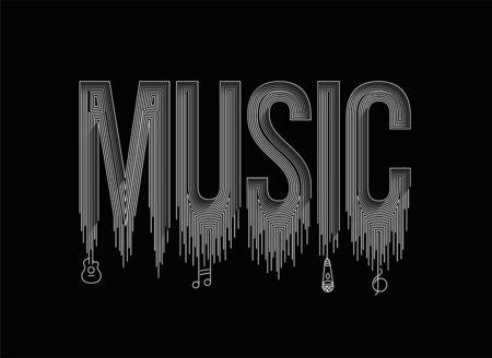 Music Calligraphic line art Text shopping poster vector illustration Design.