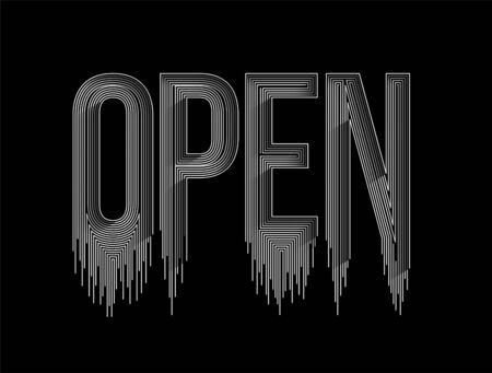 Open Calligraphic line art Text shopping poster vector illustration Design. Illustration