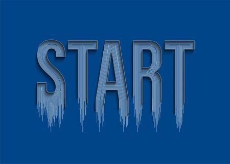 Start Calligraphic Line art Text Poster vector illustration Design.