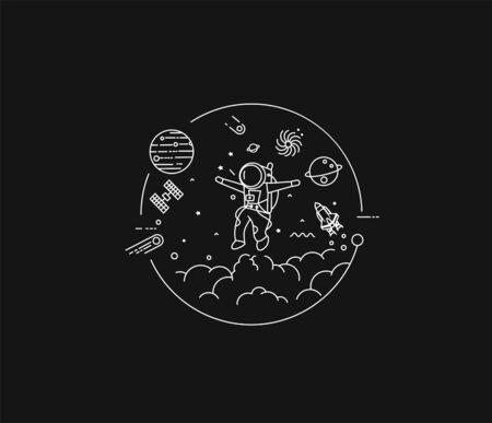 Astronaut in space circle, Flat Line Art Design illustration. Ilustración de vector