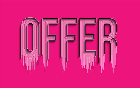 Offer Calligraphic line art Text shopping poster vector illustration Design. Vectores