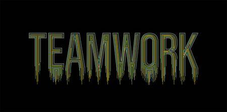 Teamwork Calligraphic line art Text banner poster vector illustration Design.