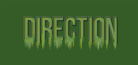 Direction Calligraphic line art Text banner poster vector illustration Design.  イラスト・ベクター素材