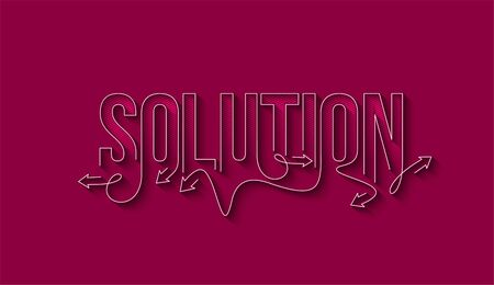 Solution Calligraphic line art Text banner poster vector illustration Design.