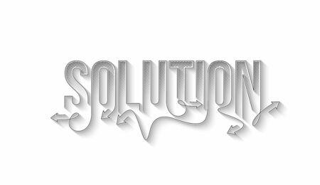 Solution Calligraphic line art Text banner poster vector illustration Design.