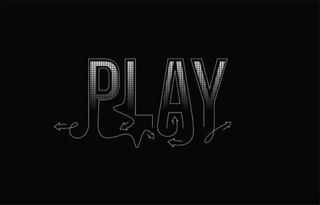 Play Calligraphic line art Text shopping poster vector illustration Design.