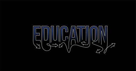 Education Calligraphic line art Text shopping poster vector illustration Design. 向量圖像