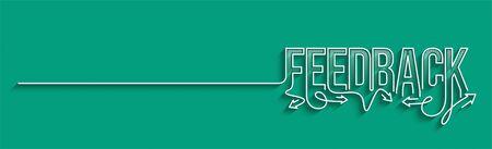 Feedback Calligraphic line art Text shopping poster vector illustration Design.