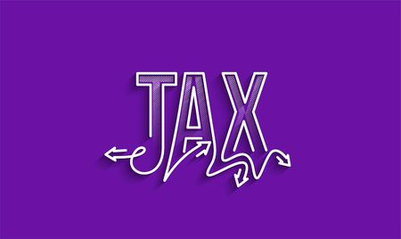 Tax Calligraphic line art Text banner poster vector illustration Design.