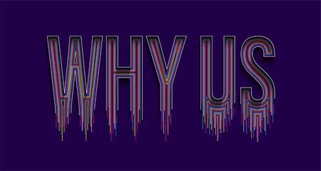 Why US Calligraphic line art Text banner poster vector illustration Design. Vetores