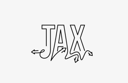 Tax Calligraphic line art Text banner poster vector illustration Design.