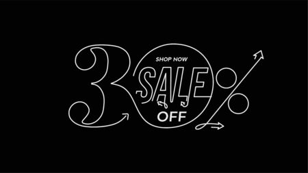 30% OFF Sale Discount Banner. Discount offer price tag.  Vector Modern Sticker Illustration. 写真素材 - 150548756