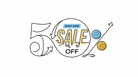 50% OFF Sale Discount Banner. Discount offer price tag.  Vector Modern Sticker Illustration. 写真素材 - 150548758