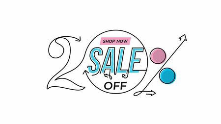 20% OFF Sale Discount Banner. Discount offer price tag.  Vector Modern Sticker Illustration.