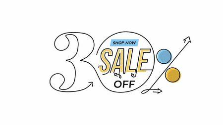 30% OFF Sale Discount Banner. Discount offer price tag.  Vector Modern Sticker Illustration. Illustration