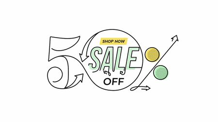 50% OFF Sale Discount Banner. Discount offer price tag.  Vector Modern Sticker Illustration.