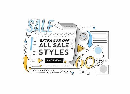 Flash Sale Discount Banner Template Promotion Big sale special offer. end of season special offer banner. vector illustration.