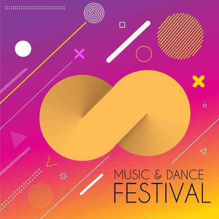Music dance party festival banner, flyer, magazine cover & poster template, vector illustration.