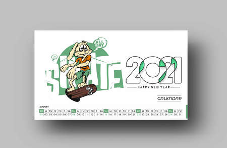 Happy new year 2021 Calendar - New Year Holiday design elements for holiday cards, calendar banner poster for decorations, Vector Illustration Background.