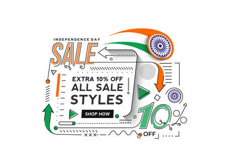 Independence Day 10% OFF Sale Discount Banner. Discount offer price. Vector Modern Banner Illustration.