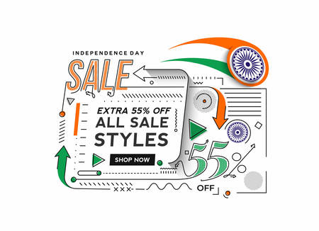 Independence Day 55% OFF Sale Discount Banner. Discount offer price. Vector Modern Banner Illustration.