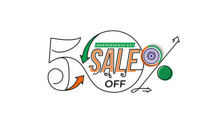 Independence Day 50% OFF Sale Discount Banner. Discount offer price. Vector Modern Banner Illustration.