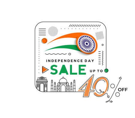 Independence Day 40% OFF Sale Discount Banner. Discount offer price. Vector Modern Banner Illustration. Illusztráció