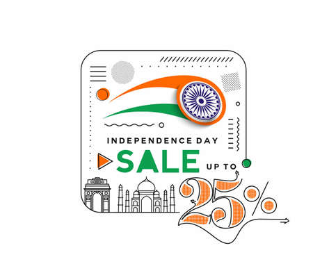 Independence Day 25% OFF Sale Discount Banner. Discount offer price. Vector Modern Banner Illustration.