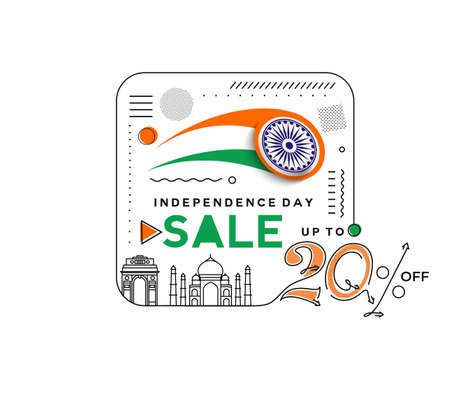 Independence Day 20% OFF Sale Discount Banner. Discount offer price. Vector Modern Banner Illustration.
