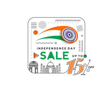 Independence Day 15% OFF Sale Discount Banner. Discount offer price. Vector Modern Banner Illustration.
