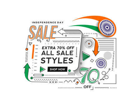 Independence Day 70% OFF Sale Discount Banner. Discount offer price. Vector Modern Banner Illustration.