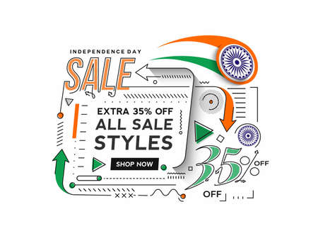 Independence Day 35% OFF Sale Discount Banner. Discount offer price. Vector Modern Banner Illustration.
