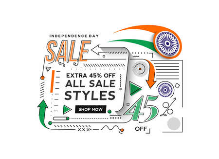Independence Day 45% OFF Sale Discount Banner. Discount offer price. Vector Modern Banner Illustration. Illusztráció