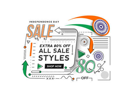 Independence Day 80% OFF Sale Discount Banner. Discount offer price. Vector Modern Banner Illustration. Illusztráció
