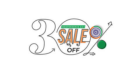 Independence Day 30% OFF Sale Discount Banner. Discount offer price. Vector Modern Banner Illustration.