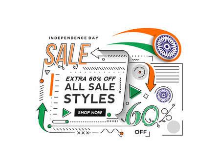 Independence Day 60% OFF Sale Discount Banner. Discount offer price. Vector Modern Banner Illustration. Illusztráció