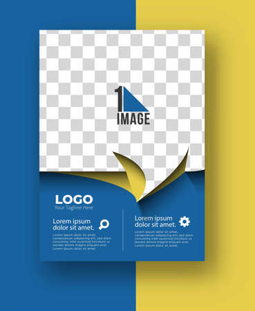 Business flyer with space of image & logo- Brochure magazine cover page & poster template, vector illustration.
