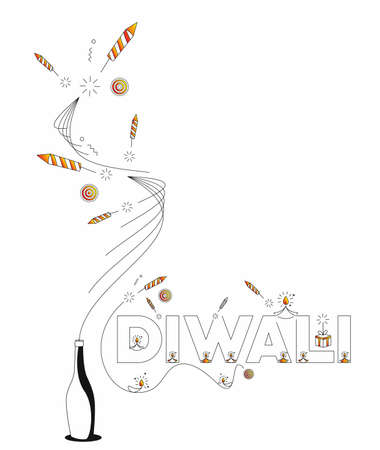 Happy Diwali text with Rocket firecrackers design. Sale Poster Banner Vector illustration.