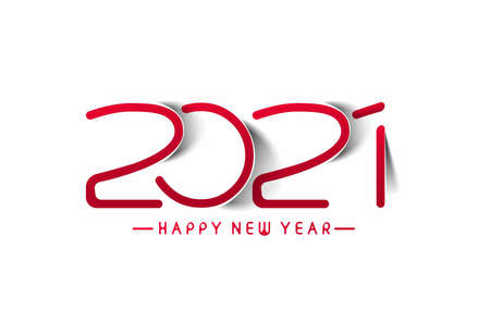 Happy New Year 2021 Text Typography Design Banner Poster, Vector illustration.