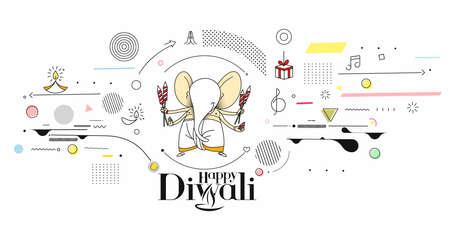 Diwali Hindu festival greeting card, Hand Drawn line art Vector illustration. Vector Illustration